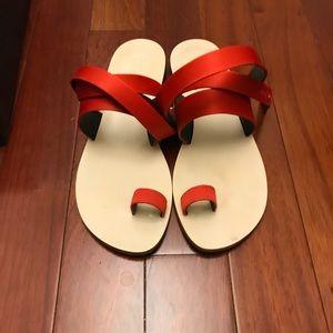 Tibi Hallie Crimson Red Satin Sandals